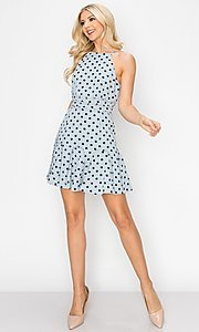 Image of light blue short polka dot casual party dress. Style: FG-INA-21-IDF76439 Detail Image 2