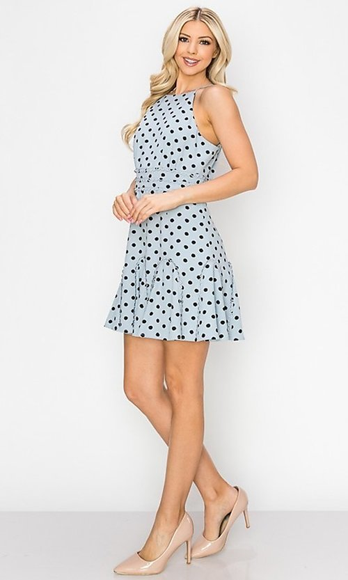 Image of light blue short polka dot casual party dress. Style: FG-INA-21-IDF76439 Detail Image 3