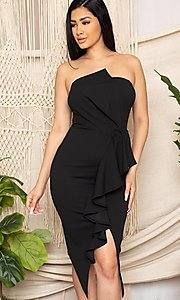 Image of short black front-slit ruffle cocktail party dress. Style: FG-RTM-21-ID7928CP Detail Image 1