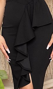 Image of short black front-slit ruffle cocktail party dress. Style: FG-RTM-21-ID7928CP Detail Image 4