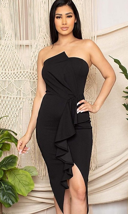 Image of short black front-slit ruffle cocktail party dress. Style: FG-RTM-21-ID7928CP Front Image