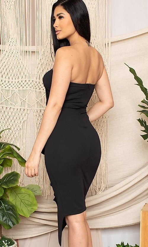 Image of short black front-slit ruffle cocktail party dress. Style: FG-RTM-21-ID7928CP Back Image