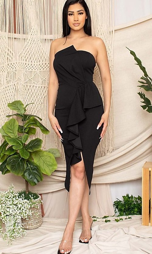 Image of short black front-slit ruffle cocktail party dress. Style: FG-RTM-21-ID7928CP Detail Image 2