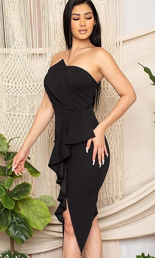 Image of short black front-slit ruffle cocktail party dress. Style: FG-RTM-21-ID7928CP Detail Image 3