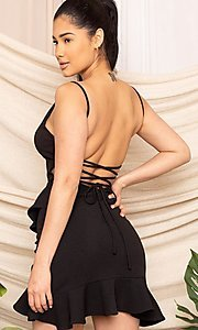 Image of sexy fitted strappy open-back short party dress. Style: FG-RTM-21-D8020APR Detail Image 4