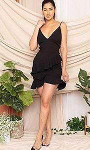 Image of sexy fitted strappy open-back short party dress. Style: FG-RTM-21-D8020APR Detail Image 5