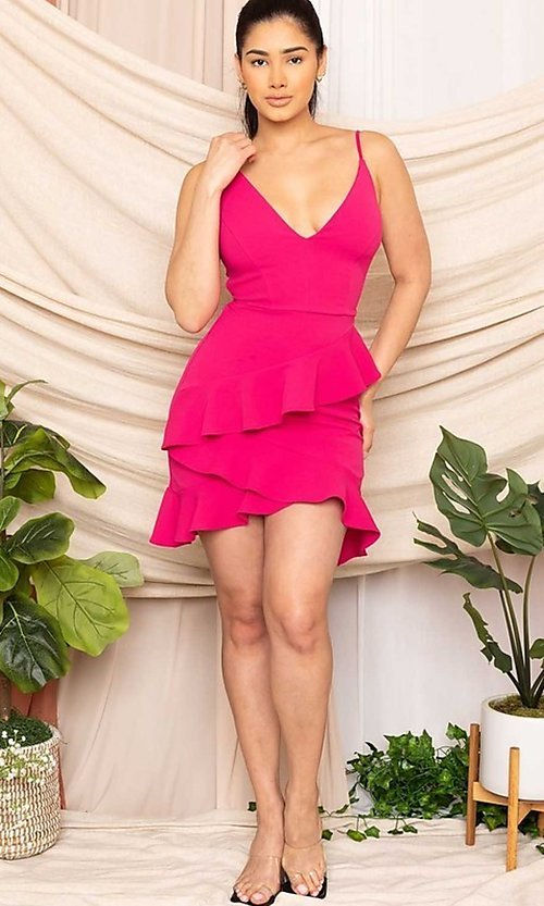 Image of sexy fitted strappy open-back short party dress. Style: FG-RTM-21-D8020APR Detail Image 1
