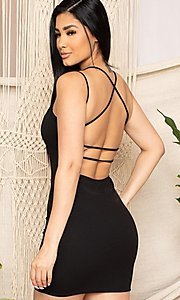 Image of statement-back short bodycon party dress. Style: FG-RTM-21-D25112AR Front Image