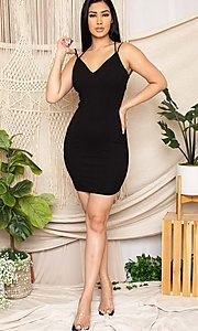 Image of statement-back short bodycon party dress. Style: FG-RTM-21-D25112AR Back Image