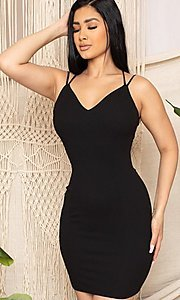 Image of statement-back short bodycon party dress. Style: FG-RTM-21-D25112AR Detail Image 1