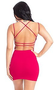 Image of statement-back short bodycon party dress. Style: FG-RTM-21-D25112AR Detail Image 7