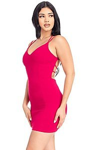 Image of statement-back short bodycon party dress. Style: FG-RTM-21-D25112AR Detail Image 8
