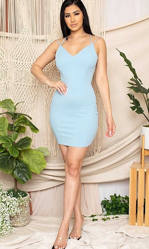 Image of statement-back short bodycon party dress. Style: FG-RTM-21-D25112AR Detail Image 4