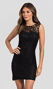 Image of sleeveless short lace homecoming party dress. Style: DQ-21-8767 Front Image