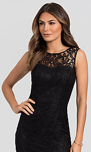 Image of sleeveless short lace homecoming party dress. Style: DQ-21-8767 Detail Image 1