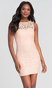 Image of sleeveless short lace homecoming party dress. Style: DQ-21-8767 Detail Image 5