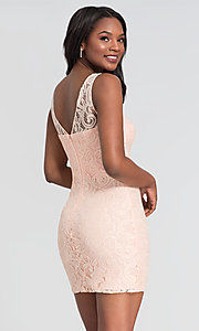 Image of sleeveless short lace homecoming party dress. Style: DQ-21-8767 Detail Image 6