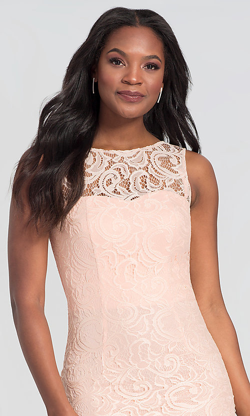Image of sleeveless short lace homecoming party dress. Style: DQ-21-8767 Detail Image 7