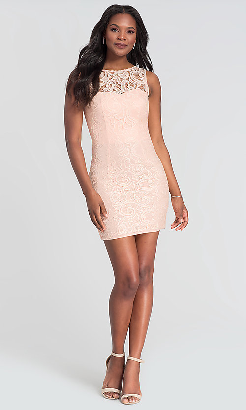 Image of sleeveless short lace homecoming party dress. Style: DQ-21-8767 Detail Image 8