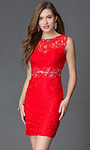 Image of short tight lace homecoming dress with sheer waist. Style: DQ-21-9099 Front Image