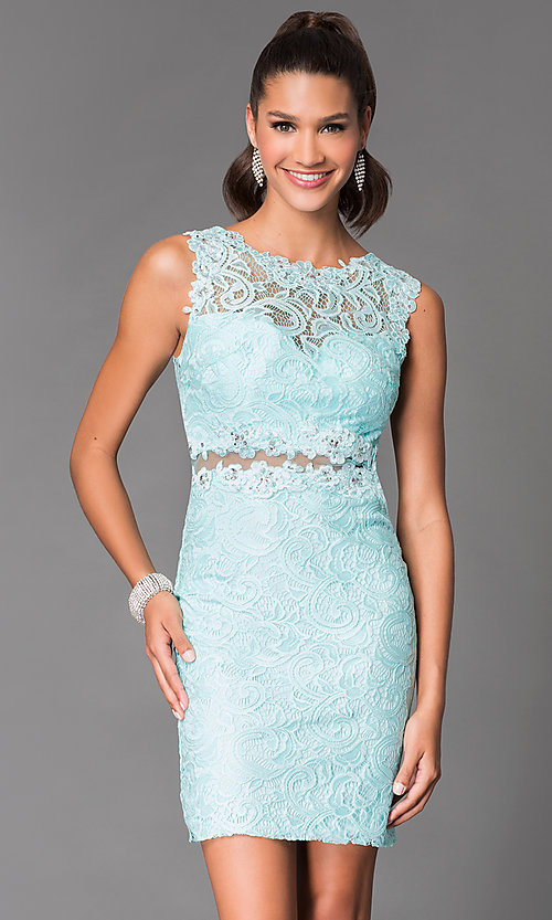 Image of short tight lace homecoming dress with sheer waist. Style: DQ-21-9099 Detail Image 1