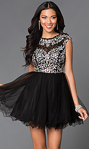Image of short tulle homecoming dance dress with beading. Style: DQ-21-9149 Front Image