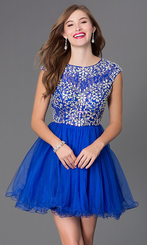 Image of short tulle homecoming dance dress with beading. Style: DQ-21-9149 Detail Image 1