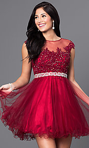 Image of cap-sleeve short homecoming dress with beading. Style: DQ-21-9489 Front Image
