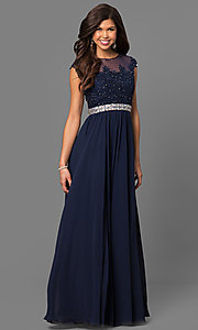 Image of embroidered sheer-bodice formal long prom dress. Style: DQ-21-9400 Front Image