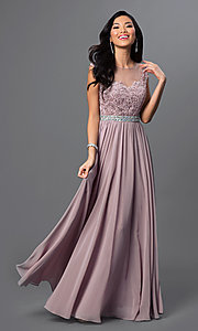 Image of embroidered sheer-bodice formal long prom dress. Style: DQ-21-9400 Detail Image 1