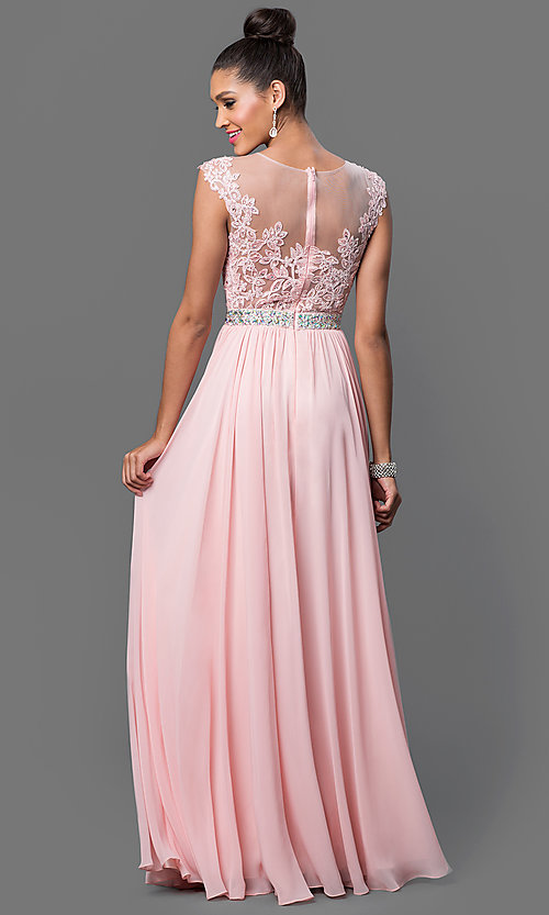 Image of embroidered sheer-bodice formal long prom dress. Style: DQ-21-9400 Back Image