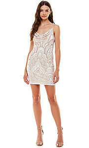 Image of ivory and gold glitter short Jump homecoming dress. Style: JU-21-10965 Detail Image 1