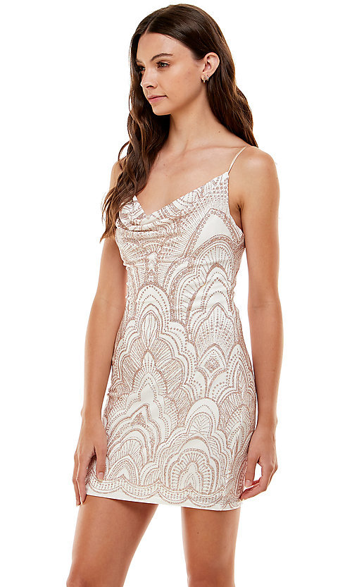 Image of ivory and gold glitter short Jump homecoming dress. Style: JU-21-10965 Front Image