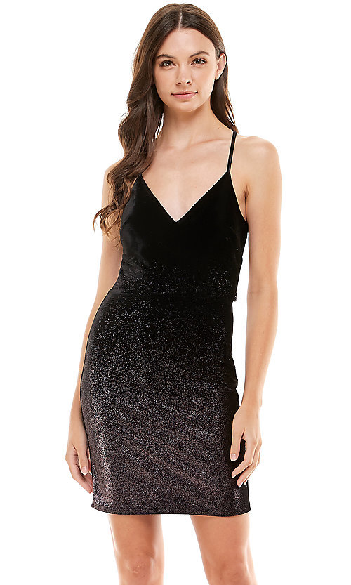 Image of short metallic black pink ombre homecoming dress. Style: JU-21-11941 Front Image