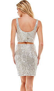 Image of two-piece short silver sequin homecoming dress. Style: JU-21-11986 Back Image