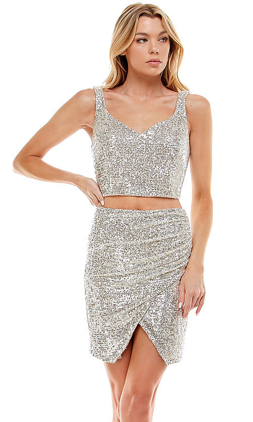 Image of two-piece short silver sequin homecoming dress. Style: JU-21-11986 Front Image