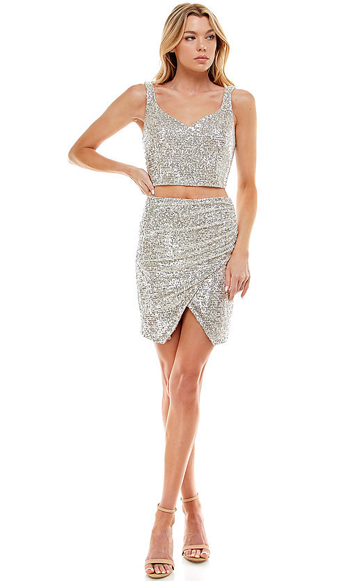 Image of two-piece short silver sequin homecoming dress. Style: JU-21-11986 Detail Image 1