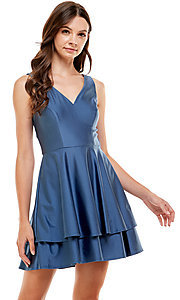 Image of Jump blue sateen short tiered homecoming dress. Style: JU-21-11992 Front Image