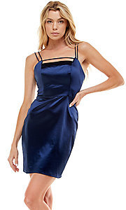 Image of navy satin short homecoming party dress by Jump. Style: JU-21-12179 Front Image