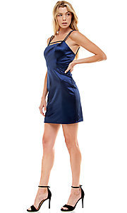Image of navy satin short homecoming party dress by Jump. Style: JU-21-12179 Detail Image 1