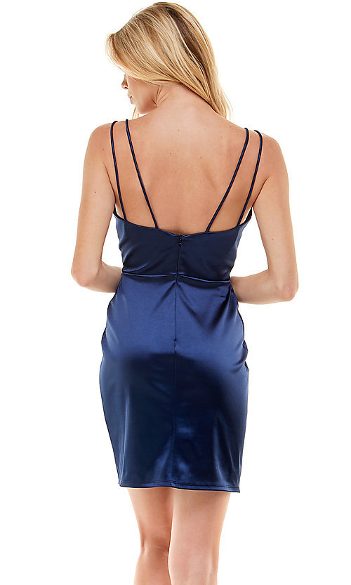 Image of navy satin short homecoming party dress by Jump. Style: JU-21-12179 Back Image