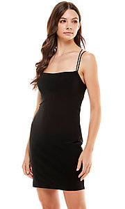 Image of Jump strappy-back short black homecoming dress. Style: JU-21-12260 Front Image
