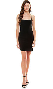 Image of Jump strappy-back short black homecoming dress. Style: JU-21-12260 Detail Image 1