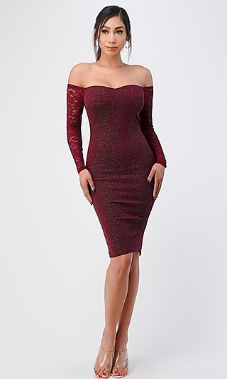 Long Lace-Sleeve Short Glitter Fitted Party Dress