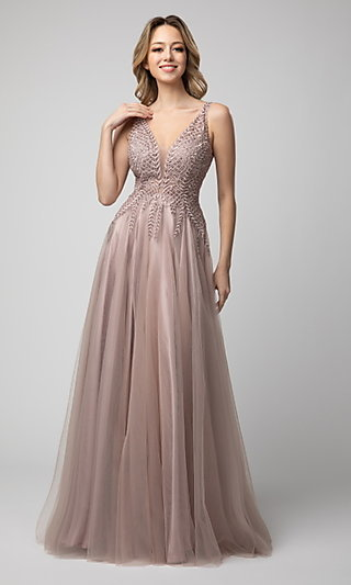 V-Neck Long A-Line Tulle Prom Gown by Shail K