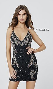 Image of short sequin corset-back formal homecoming dress. Style: PV-21-3301 Detail Image 4
