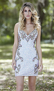 Image of short sequin corset-back formal homecoming dress. Style: PV-21-3301 Detail Image 2