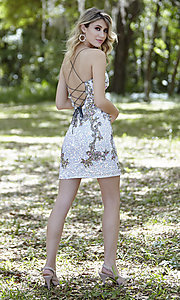 Image of short sequin corset-back formal homecoming dress. Style: PV-21-3301 Detail Image 3