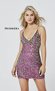 Image of short sequin corset-back formal homecoming dress. Style: PV-21-3301 Detail Image 5