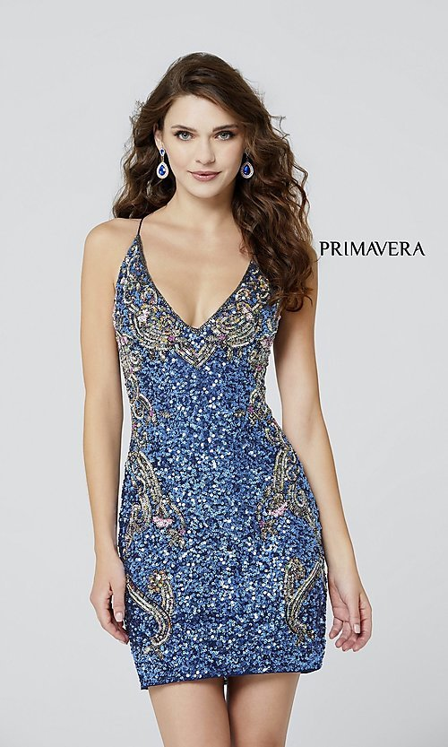 Image of short sequin corset-back formal homecoming dress. Style: PV-21-3301 Front Image
